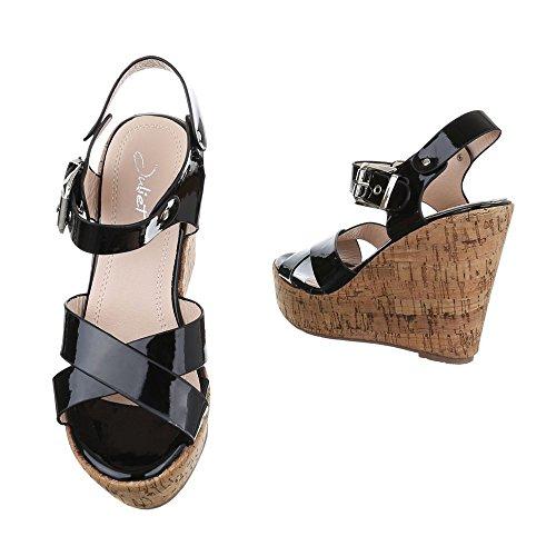 Design Schwarz Chaussures Ital Femme Compensées qZRpPXx