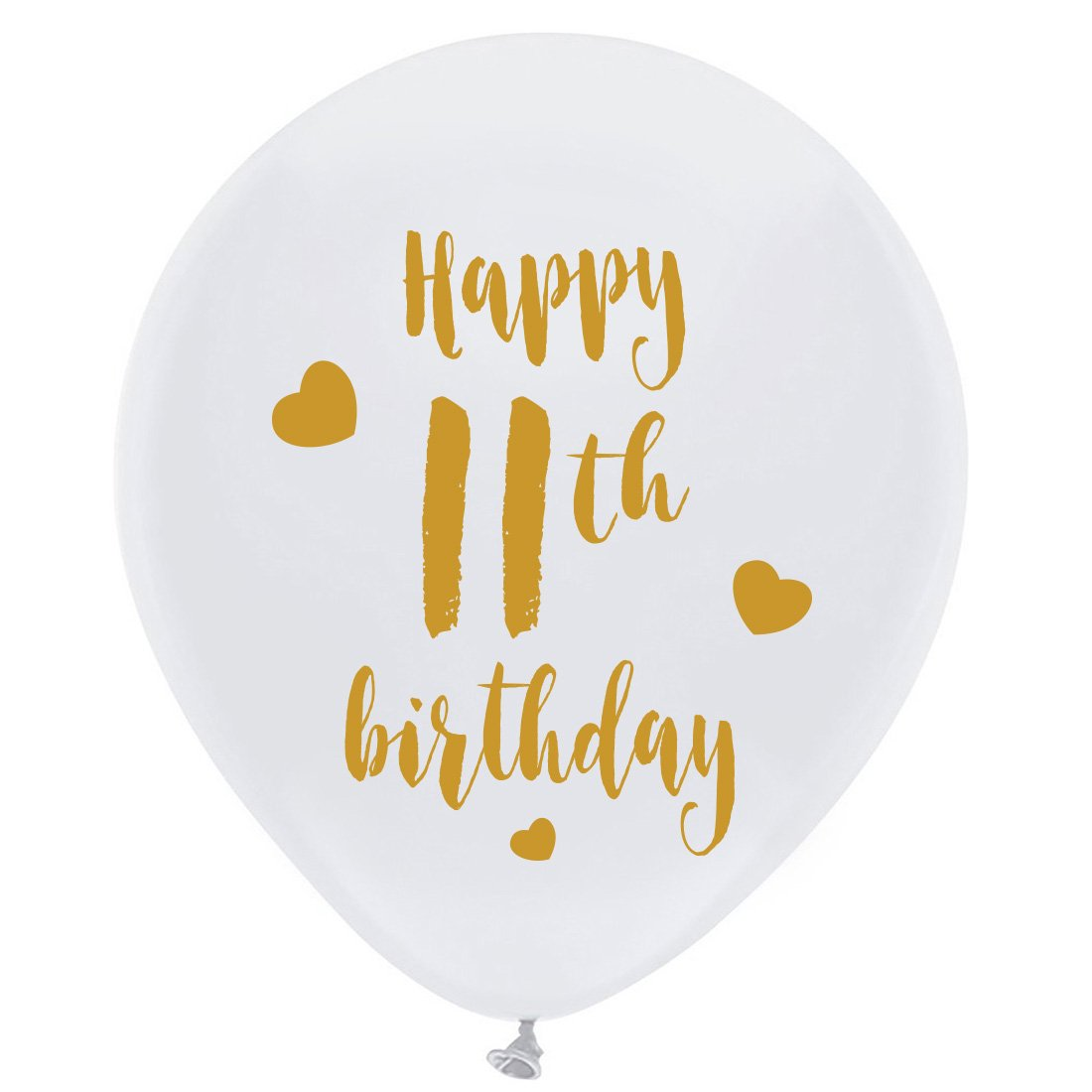 White 11th Birthday Latex Balloons 12inch 16pcs Girl Boy Gold Happy Party Decorations Supplies