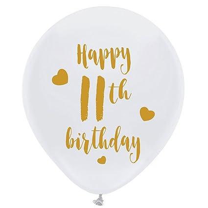 Amazon White 11th Birthday Latex Balloons 12inch 16pcs Girl
