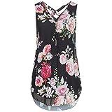 Zainafacai Women's Tank Top Summer Beach Flower Print Vest Top Sleeveless Blouse Casual Tank Loose Tops T-Shirt (Black, XL)