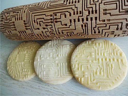 Rolling pin MICROCHIP, HI - TECH. Wooden embossing rolling pin with MICROCHIP pattern. Embossed cookies. Pottery. Birthday gift.