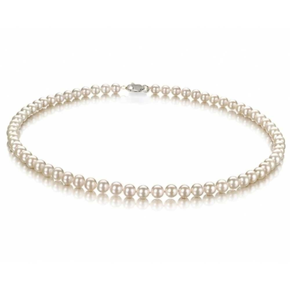 Freshwater Cultured White Pearl Classic Bridal Choker Sterling Silver Necklace 18in