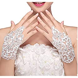 Bridal Gloves OVERMOON Women's Lace Satin Fingerless Bridal Gloves for Wedding Party