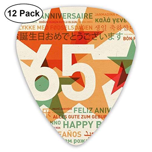 - Guitar Picks 12-Pack,Happy Birthday In Languages French Italian Worldwide Celebration