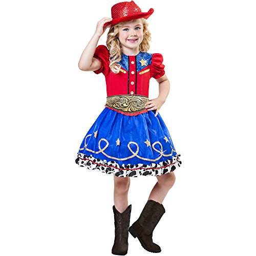 [Cowgirl Cutie Girl's Glittery Western Costume with Sparkling Red Hat Size Small (4-6)] (Cowgirl Cutie Girls Costumes)