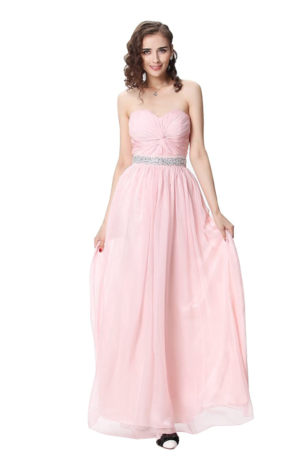 Dressesinstock Women's Strapless Sleeveless Chiffon Bridesmaid Dress