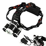 Pholex Best LED Headlamp 6000 Lumen Super Bright Flashlight IMPROVED LED, Rechargeable 18650 Headlight Flashlights Waterproof Hard Hat Light, Bright Head Lights, Camping, Running,Hiking