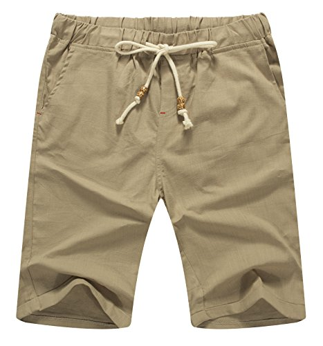 Mr.Zhang Men's Linen Casual Classic Fit Short Summer Beach Shorts Khaki-US S (Casual Khaki Shorts)