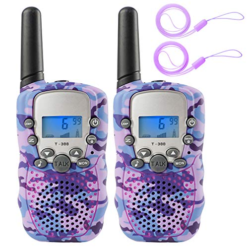 Zwish Kids Walkie Talkies Toys 2 Pack 22 Channels 2 Way Radio with Flashlight and LCD Screen 3 Miles Range for Boys Girls Outside Adventures, Camping, Hiking(Purple Camo)
