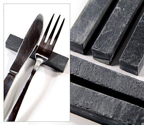 6 Messerbänkchen aus Schiefer. PTMD Home Collection. Edle Besteck oder Stäbchen Ablage für Ihre Tischdekoration! Messerbank!
