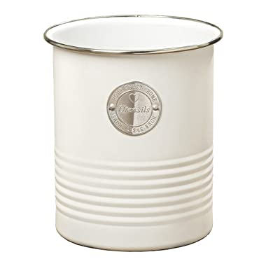 Whole House Worlds Farmers Market HOME SWEET HOME UTENSILS, Caddy Canister, Silver Medallion, Vintage Style, Chrome and Ribbed Details, White Metal, 6 Inches Tall, by WHW