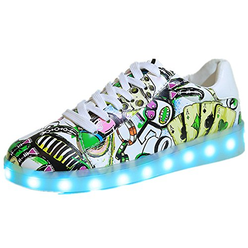 Ballroom Costumes Uk (LED Light Unisex kids Child Boys Girls Sport Sneakers Cute design Luminous Flashing Shoes (green 35/4 B(M) US Women / 3 D(M) US)
