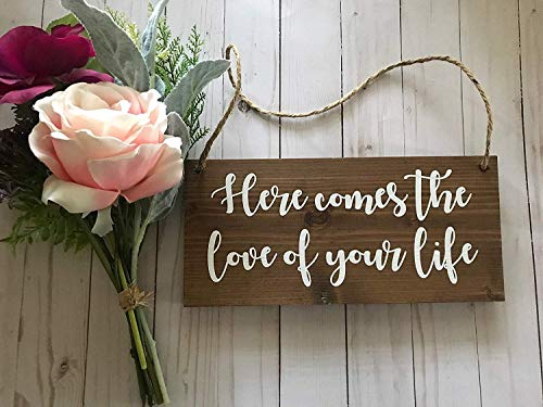 Jerome George New Sign Here Comes The Love of Your Life Sign-Ring Bearer Sign-Wood Wedding Sign-Love of Your Life-Here Comes The Bride-Wedding Ceremony-Flower Girl