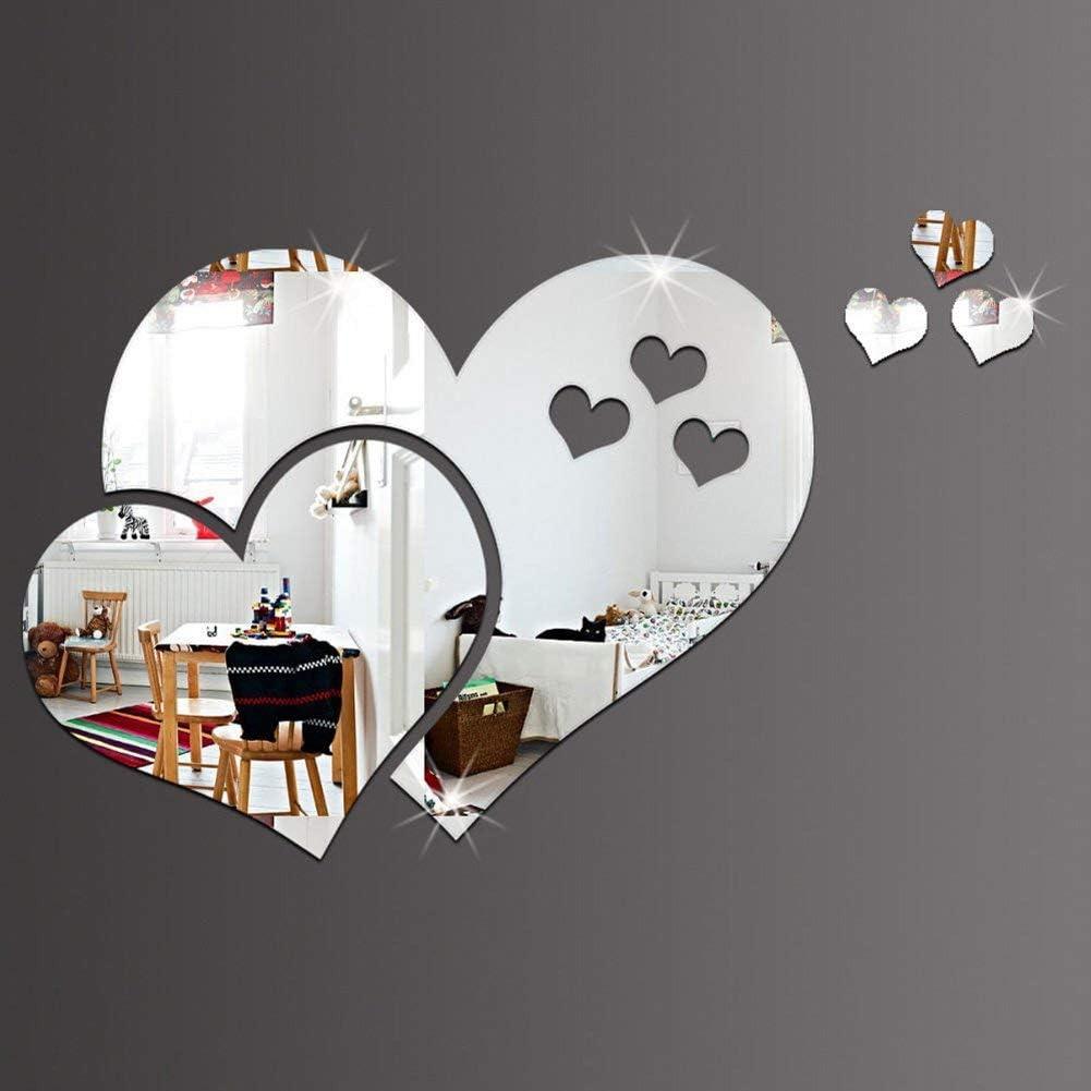 10 Pcs // 2 Ensemble Argent Miroir Stickers Muraux Cristal 3D Double Amour Coeur Acrylique DIY Art Stickers Muraux Maison Salon Salle De Bain TV Fond D/écor