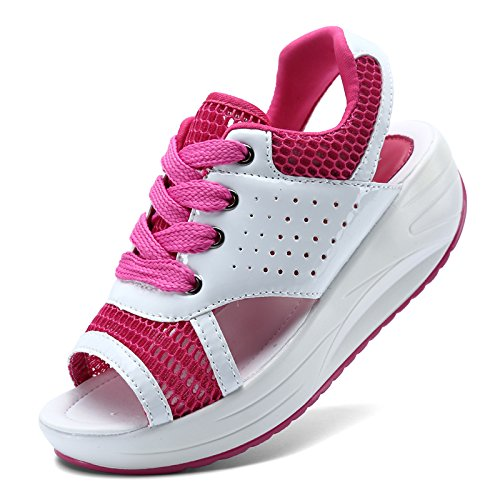Xing Lin Ladies Sandals Summer Sandals Women New Platform Rocker Sandals Casual Beach Breathable Sandals Lace Rose red 7ca4gQ