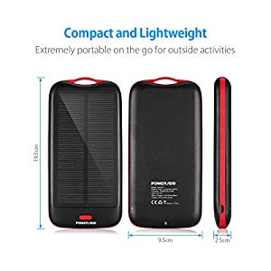 [Upgraded Version] Poweradd Apollo2 10,000mAh Portable Solar Panel Charger External Battery Pack - Black from Poweradd