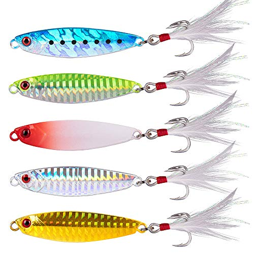 Dr.Fish Metal Jigs Casting Jigs Assortment 5 Jigging Spoon Minnow Long Casting for Bass Sea Trout Freshwater Saltwater Fishing Lure Kit (Long Casting Jig (5pcs))