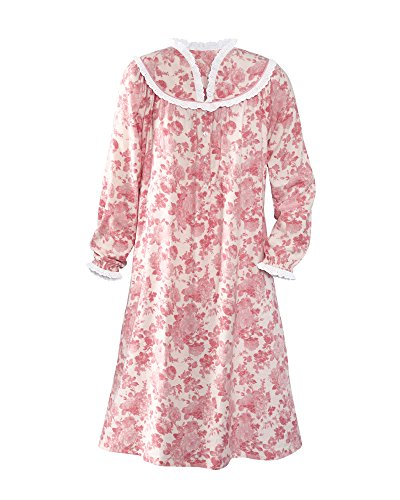 National Dainty Floral Flannel Gown, Rose, Small ()