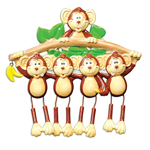 Monkey Family 5 Personalized Christmas Tree Ornament Picture
