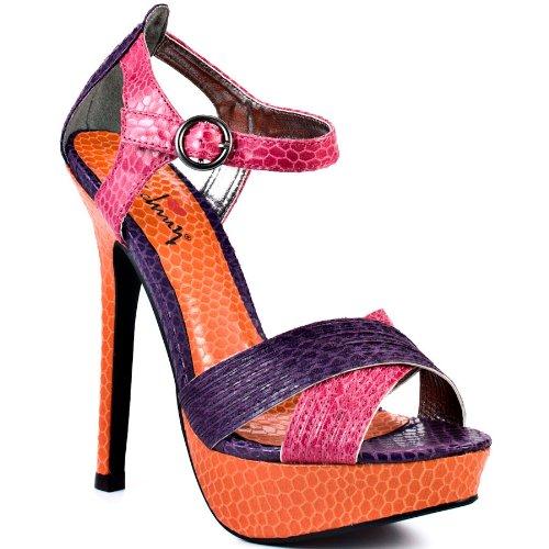 Luichiny Women's Bow Tie Dress Shoes,Pink/Purple/Orange Snake Print Imi Leather,7 M US -