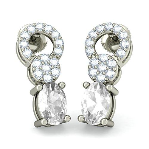 18K Or Blanc 0,28CT TW Round-cut-diamond (IJ   SI) et blanc Sapphire Boucles d'oreilles pendantes