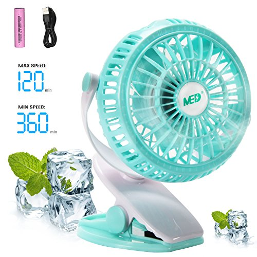 MED Mini Battery Operated Clip Fan,Sall Portable Fan Powered by Rechargeable Battery or USB Desk Personal Fan for Baby Stroller Car Gym Workout Camping,Green ()
