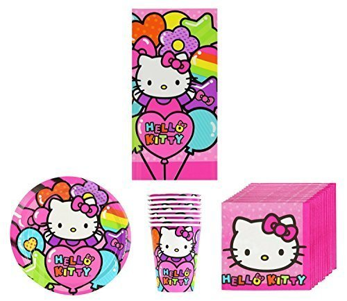 Hello Kitty New Sanrio Rainbow Birthday Party Supplies Pack Bundle Kit Including Plates, Cups, Napkins and Tablecover - 8 Guests]()
