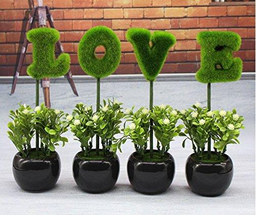 C&L LOVE Mini Purple Hedge Artificial Plants, Ceramic Cube Faux Flowers Planters - Uk Site Purple