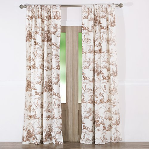 Greenland Home Classic Toile Curtain Panel Pair, (Brown Toile Window Panels)