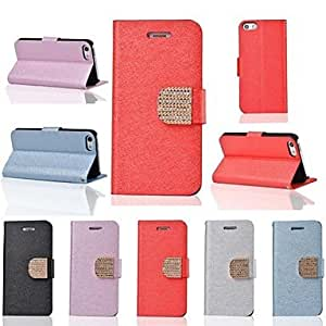 Elonbo J5T Fashion Style Diamond Leather Stand Full Body Case Cover for iPhone 5C(Assorted Colors) , Black