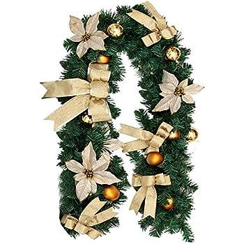 christmas garland with balls xmas door decoration xmas green garland gold 1 pack - Green Christmas Garland
