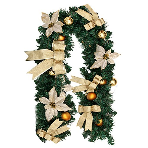 Christmas Garland with Balls Xmas Door Decoration Xmas Green Garland (Gold, 1 Pack) (Garland Christmas Banister)