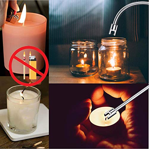 Lighters, Upgraded Candle Lighter USB Electric Plasma Lighters Long Rechargeable Flexible Flamless Windproof for Candles, Camping, Stove, Fireworks, Charcoal Grill, BBQ, (Black)