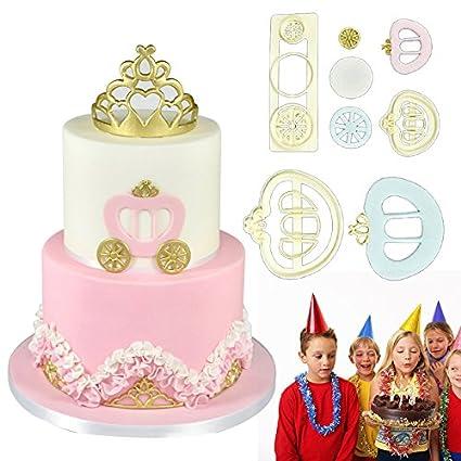 Juego de herramientas de cocina, 3 moldes para repostería con diseño de carruaje y corona de princesa, para decoración de pasteles, galletas, etc.