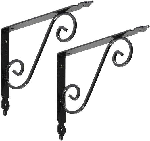 "2 Vintage Black Hammered Wrought IRON SCROLL SHELF BRACKETS  8/"" x 6/"" x 1/"" PAIR"