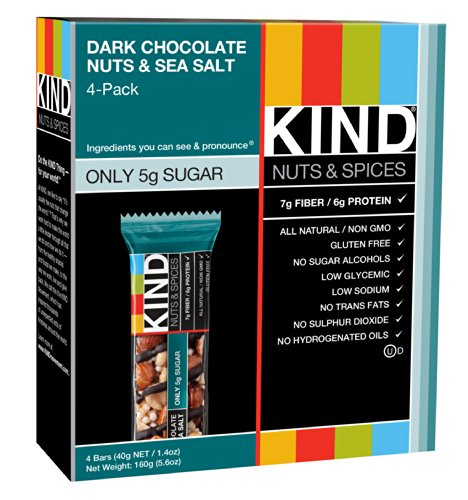 KIND Bars, Dark Chocolate Nuts & Sea Salt, Gluten Free, Low Sugar, 1.4oz, 4 Count