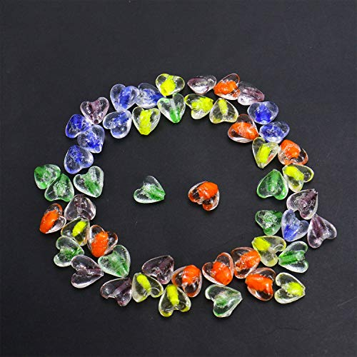 Monrocco 50pcs Lampwork Glass Beads Heart Beads Mixed Colors for DIY Jewelry Necklace Bracelet Earring Making Glass Loose Beads ()