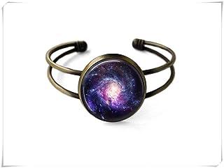 Spiral Galaxy Bracelet,Galaxy Jewelry,Space Jewelry,Boho Jewelry,Dome Glass Jewelry, Pure Hand-Made.