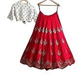 BRIDES and BEAUTY woman's Banglory silk (semi stitched_free size) CLASSY RED lehenga choli