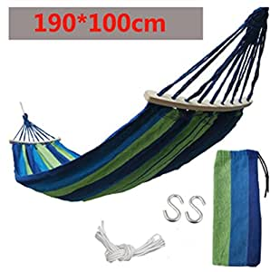1 Person Splicing Color Cotton Fabric Portable Hanging Indoor Outdoor Camping Hammock