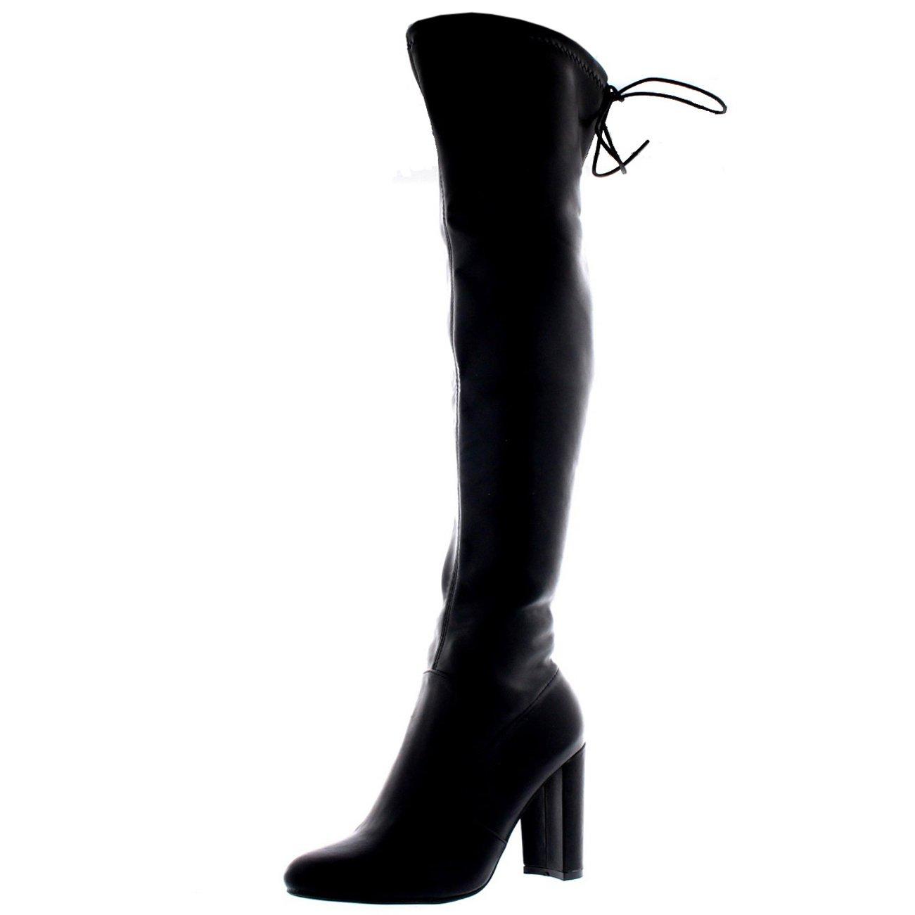 Womens Wide Fit Stretch Long Thigh High Winter Riding Block Heel Boots - Black PU - US8/EU39 - KL0075