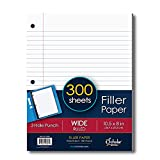 iScholar Wide Ruled Filler Paper, White, 10.5 X 8-Inch, White, 300 Sheets Per Pack - 81300