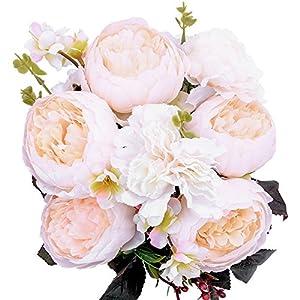 StarLifey Artificial Peony Wedding Flower Bush Bouquet Vintage peony Silk Flowers for Home Kitchen Wreath Wedding Centerpiece