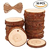 """Natural Wood Slices 30 Pcs 2.4""""-2.8"""" Craft Wood kit Unfinished Predrilled with Hole Wooden Circles Great for Arts and Crafts Christmas Ornaments DIY Crafts"""
