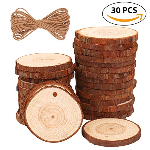 Natural Wood Slices 30 Pcs 2.4''-2.8'' Craft Wood kit Unfinished Predrilled with Hole Wooden Circles Great for Arts and Crafts Christmas Ornaments DIY Crafts by Fuyit
