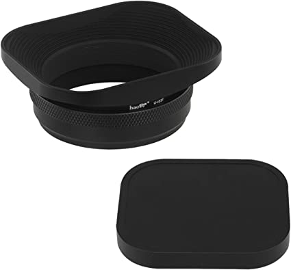 Haoge LH-X53B 3in1 Lens Hood with Adapter Ring with Cap Set for Fujifilm Fuji FinePix X70 X100 X100S X100T X100F X100V Camera Black Replaces Fujifilm LH-X100