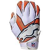 nfl broncos football - NFL Denver Broncos Youth Receiver Gloves,White,Medium