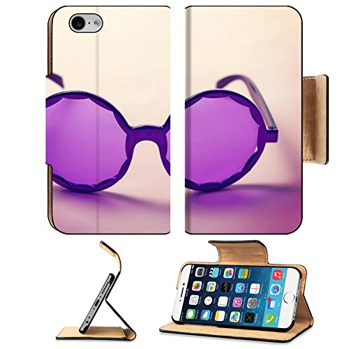 Luxlady Premium Apple iPhone 6 iPhone 6S Flip Pu Leather Wallet Case IMAGE ID: 34009416 Funky purple sixties hippy sunglasses with shadows (Diy Hippy Costume)