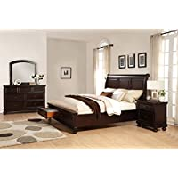 Roundhill Furniture Brishland Storage Bedroom Set Includes Queen Bed, Dresser, Mirror and Nighstand, Rustic Cherry
