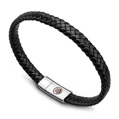 wholesale half off presenting Casisto.J Bracelet homme - bracelet cuir homme manchette tressé à la main  classique noir et brun avec fermoir magnétique gravé cadeau bijoux gratuit  ...